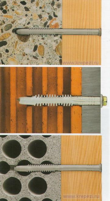 Фасадный дюбель FUR -примеры крепежа