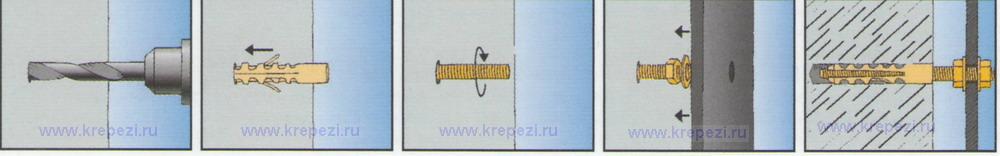 Схема монтажа с дюбелем M-S